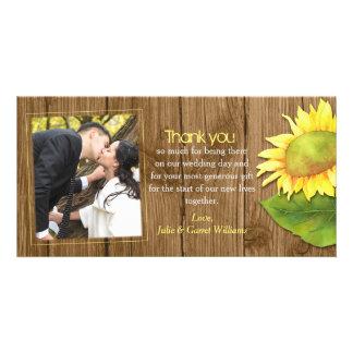 Cartão Obrigado rústico da foto do casamento do girassol