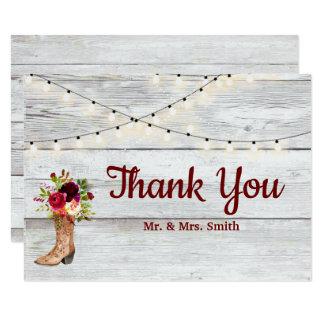 Cartão Obrigado rústico de Boho Marsala da bota ocidental