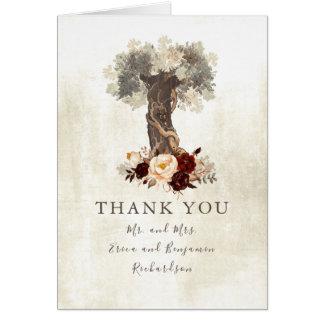 Cartão Obrigado rústico do casamento da árvore das flores