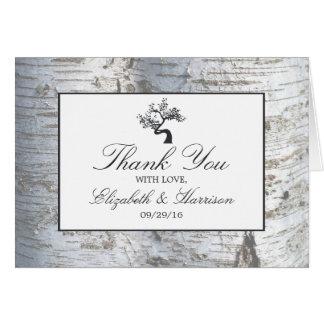 Cartão Obrigado rústico do casamento da árvore de