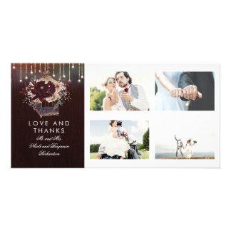Cartão Obrigado rústico do casamento da lanterna floral