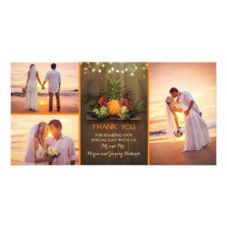 Cartão Obrigado rústico do casamento de praia do abacaxi