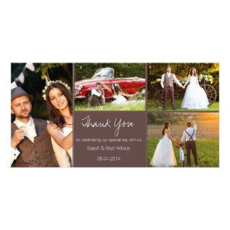 Cartão Obrigado rústico do casamento de quatro fotos você