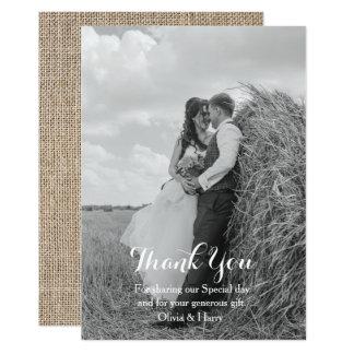 Cartão Obrigado rústico do casamento de serapilheira do