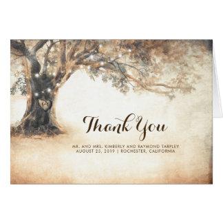 Cartão Obrigado rústico do casamento do carvalho você