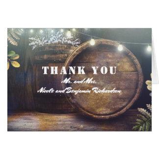 Cartão Obrigado rústico do casamento do celeiro do tambor
