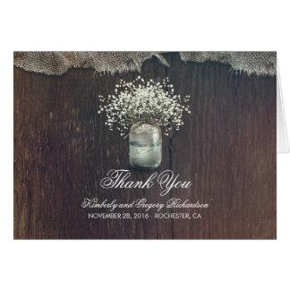 Cartão Obrigado rústico do casamento do frasco de