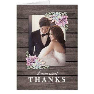 Cartão Obrigado rústico do casamento do Succulent do
