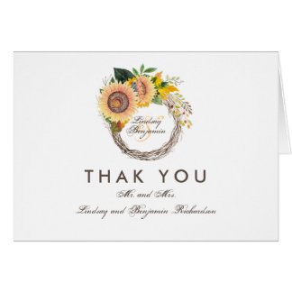 Cartão Obrigado rústico do casamento dos girassóis da