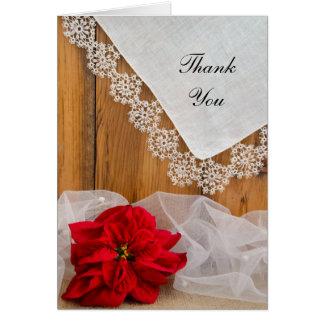 Cartão Obrigado rústico do casamento no inverno do laço