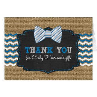 Cartão Obrigado rústico do chá de fraldas de Bowtie você