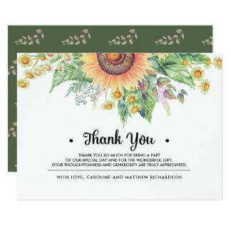 Cartão Obrigado rústico do girassol do país de | você