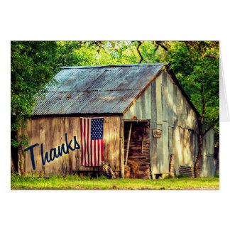 Cartão Obrigado rústico dos obrigados da bandeira