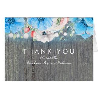 Cartão Obrigado rústico floral do casamento do azul de