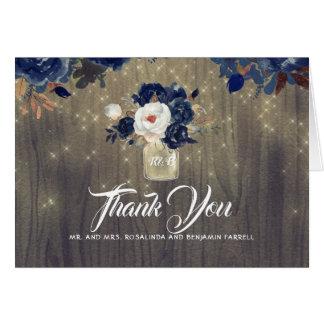 Cartão Obrigado rústico floral do casamento do marinho
