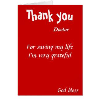 Cartão Obrigado salvar meu doutor da vida