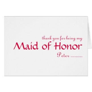 Cartão Obrigado sendo minha madrinha de casamento