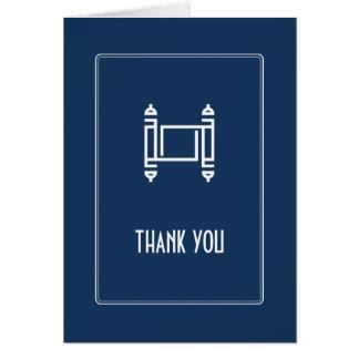 Cartão Obrigado simples de Torah do cobalto você
