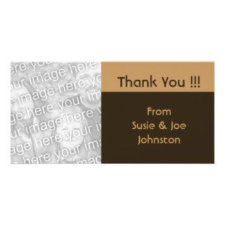 Cartão obrigado simples do marrom do biege você