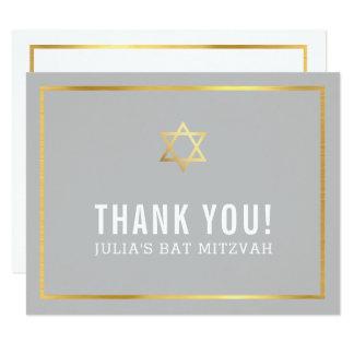 Cartão Obrigado simples MODERNO do BAR MITZVAH você cinza