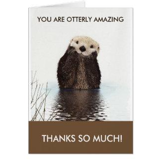 Cartão Obrigado surpreendente da chalaça da lontra de