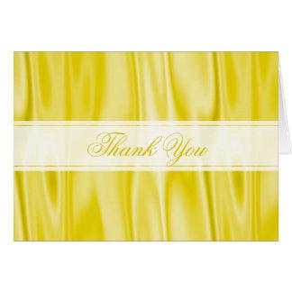Cartão Obrigado:  Tecido amarelo Pastel do cetim do falso