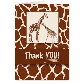 Cartão Obrigado tema do safari do impressão do girafa