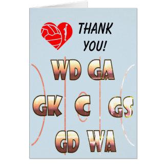 Cartão Obrigado temático do treinador das posições do