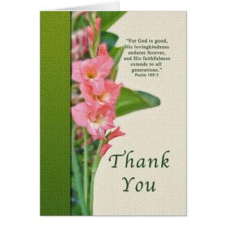 Cartão Obrigado, tipo de flor cor-de-rosa