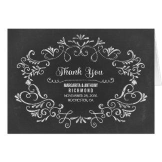 Cartão obrigado tirado mão do casamento do quadro você