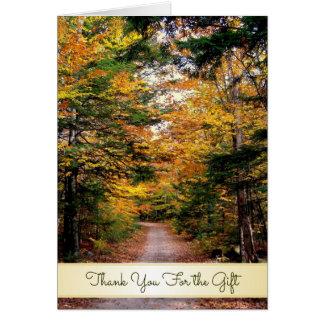 Cartão Obrigado traseiro da queda da estrada você para o