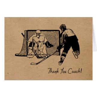 Cartão Obrigado treinador de hóquei! Carde o esboço da