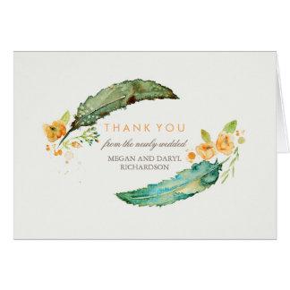 Cartão Obrigado tribal do casamento da cerceta das penas