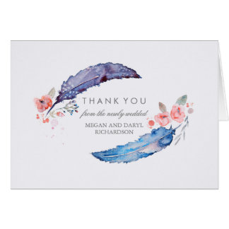 Cartão Obrigado tribal do casamento do estilo das penas