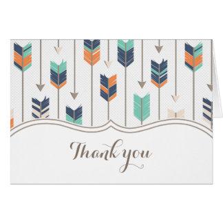 Cartão Obrigado tribal do chá de fraldas das setas você