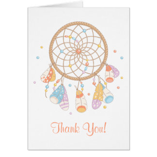 Cartão Obrigado tribal do chá de fraldas de Dreamcatcher