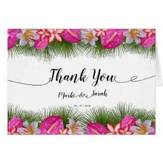 Cartão Obrigado tropical da caligrafia das flores e das