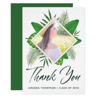 Cartão Obrigado tropical da graduação de Luau da aguarela