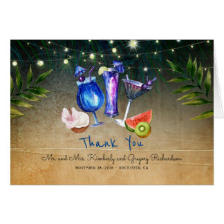 Cartão Obrigado tropical da praia do evento especial dos