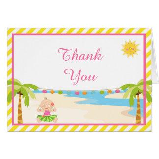 Cartão Obrigado tropical do bebê da menina de Hula você