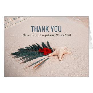 Cartão Obrigado tropical do casamento do destino você