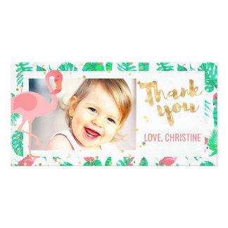 Cartão obrigado tropical do flamingo cor-de-rosa você