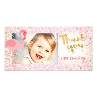 Cartão obrigado tropical do flamingo feminino cor-de-rosa