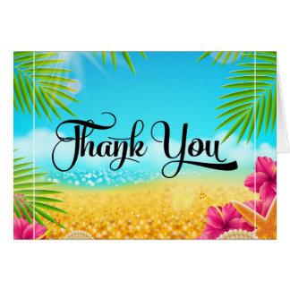 Cartão Obrigado tropical do hibiscus do rosa da praia