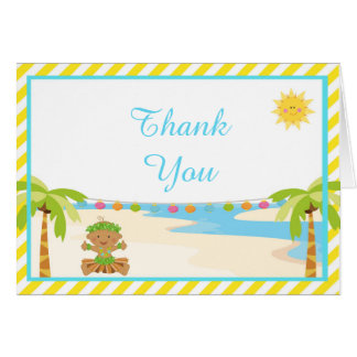 Cartão Obrigado tropical do menino de Hula você