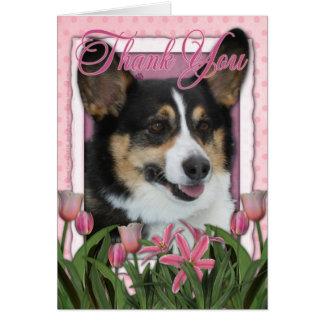 Cartão Obrigado - tulipas cor-de-rosa - Corgi