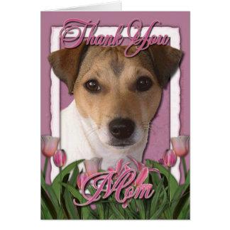 Cartão Obrigado - tulipas cor-de-rosa - Jack Russell