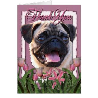 Cartão Obrigado - tulipas cor-de-rosa - Pug