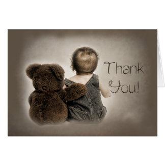 Cartão Obrigado - urso do bebê e de ursinho (amigos)