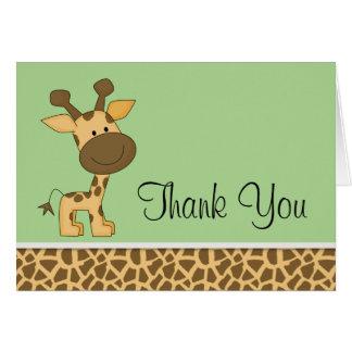 Cartão Obrigado verde bonito do girafa você